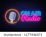 on air radio neon logo vector.... | Shutterstock .eps vector #1177436371