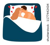 couple in love in bed. woman... | Shutterstock .eps vector #1177442434