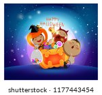 halloween kids having fun and... | Shutterstock .eps vector #1177443454