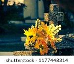 flowers in jazigo do cemetery... | Shutterstock . vector #1177448314