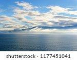 view of coastline with fog in...   Shutterstock . vector #1177451041