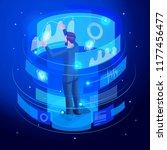 isometric businessman works...   Shutterstock .eps vector #1177456477