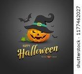 happy halloween pumpkin wear... | Shutterstock .eps vector #1177462027