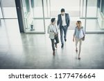 business team gets to work.... | Shutterstock . vector #1177476664