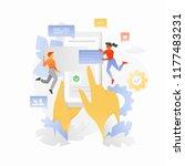 hands with smartphone. tiny... | Shutterstock .eps vector #1177483231