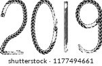 tire tracks . new year 2019.... | Shutterstock .eps vector #1177494661