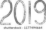 tire tracks . new year 2019.... | Shutterstock .eps vector #1177494664