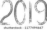tire tracks . new year 2019.... | Shutterstock .eps vector #1177494667