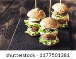burgers on the black stone board | Shutterstock . vector #1177501381