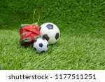 merry christmas to soccer with... | Shutterstock . vector #1177511251