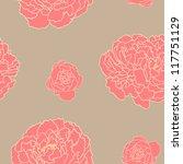Peony Flower Seamless Pattern