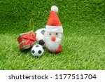 merry christmas to soccer with... | Shutterstock . vector #1177511704