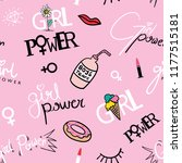 girl power concept text and... | Shutterstock .eps vector #1177515181