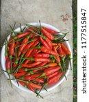 garden fresh red chilli | Shutterstock . vector #1177515847