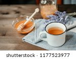 cup of herbal tea with sage and ... | Shutterstock . vector #1177523977