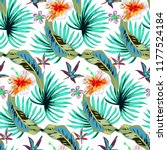 tropical pattern with exotic... | Shutterstock .eps vector #1177524184