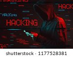 computer hacking concept with... | Shutterstock . vector #1177528381