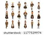people dressed in historic... | Shutterstock .eps vector #1177529974
