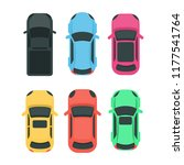 Stock photo cars top view colorful different vehicles on white 1177541764