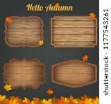 4 realistic wooden signs set....   Shutterstock .eps vector #1177543261