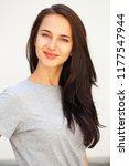 happy beautiful brunette woman... | Shutterstock . vector #1177547944