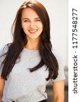 happy beautiful brunette woman... | Shutterstock . vector #1177548277