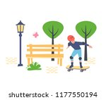 young boy  skateboarder in... | Shutterstock .eps vector #1177550194