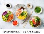 hawaiian salmon  tuna and... | Shutterstock . vector #1177552387