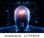 Composition of human head, fractal grids and numbers on the subject of science, math, geometry and modern technology - stock photo