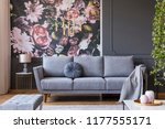blanket on grey couch in living ... | Shutterstock . vector #1177555171