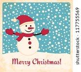Retro Christmas Card With Happ...