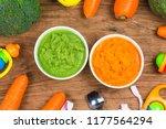 vegetable puree  carrots ... | Shutterstock . vector #1177564294