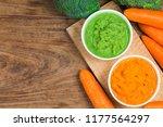 vegetable puree  carrots ...   Shutterstock . vector #1177564297