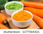 vegetable puree  carrots ...   Shutterstock . vector #1177564321