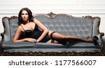 Stock photo sexy brunette girl in erotic lingerie in vintage interior 1177566007