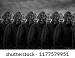 group of people in gas mask | Shutterstock . vector #1177579951