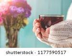tea drinking. a woman in a... | Shutterstock . vector #1177590517