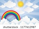 color full cloud paper style... | Shutterstock .eps vector #1177612987