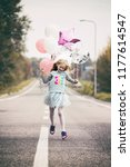 birthday   happy girl with... | Shutterstock . vector #1177614547