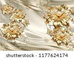3d wallpaper design with floral ... | Shutterstock . vector #1177624174
