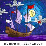 illustration in stained glass...   Shutterstock .eps vector #1177626904
