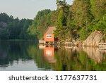 norwegian summer cabin   Shutterstock . vector #1177637731