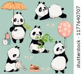little panda collection | Shutterstock .eps vector #1177640707