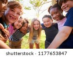 group of smiling schoolchildren ... | Shutterstock . vector #1177653847