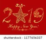 happy new year 2019  vintage... | Shutterstock . vector #1177656337