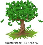 Conceptual vector illustration. Money growing on a tree, representing perhaps green environmental investments or the growth of any savings or investment. - stock vector