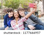 group of diverse teenagers... | Shutterstock . vector #1177666957