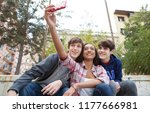 group of diverse teenagers... | Shutterstock . vector #1177666981