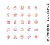 outline christmas holiday icons  | Shutterstock .eps vector #1177682431
