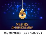 6th anniversary gold numbers.... | Shutterstock .eps vector #1177687921